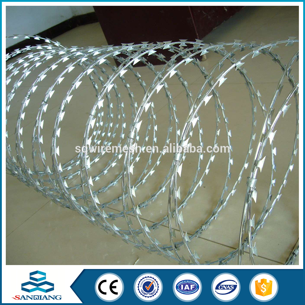 BWG10-BWG27 low price concertina galvanized razor barbed wire for sale