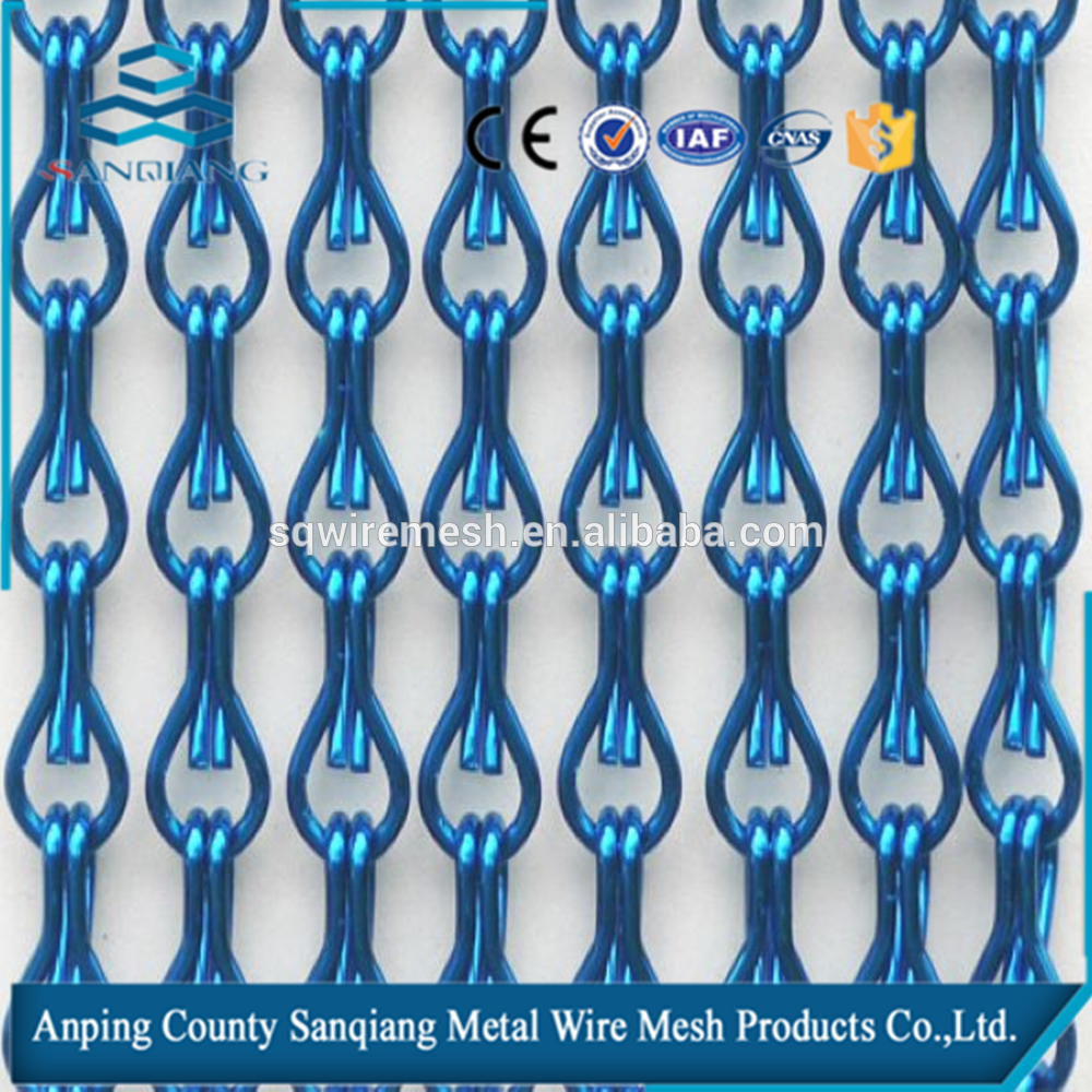 Anodized chain link Curtain / Decorative metal chain link mesh curtain